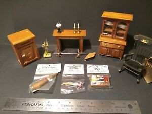 Vintage Dollhouse Furniture Lot Fireplace Rocking Chair Accessories Shackman Mix