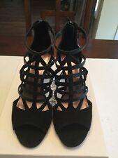 Calvin Klein Women's Gena Heel Suede Nappa Black 7.5m New