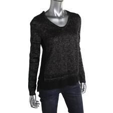 DKNY Jeans 0204 Womens Black Metallic Contrast Trim Pullover Sweater Top M BHFO