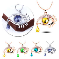 Crystal Teardrop Necklace Eye Lashes Rhinestone Pendant Long Sweater Chain New