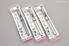 3X Pentel Pocket Brush Pen +2 Black Ink Cartridges  PINK/VIOLETAND/GOLD BARREL