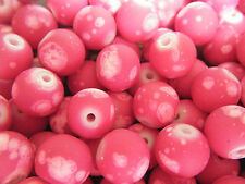 25 x Pink & White Coloured Galaxy Rubberized Round Glass Beads - Size 10mm.
