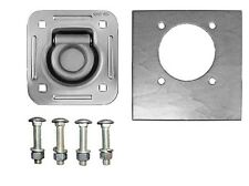 "1/2"" Dia Recessed 5000# D Ring KIT W/ Backing Plates Bolts Car Trailer Truck Pan"