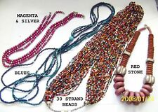 Strand or Red Choose-Fashion Necklaces-Magenta,Blues,3 0