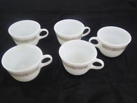 PYREX VINTAGE WOODLAND BROWN - 5 COFFEE MUGS CUPS  WHITE MILK GLASS