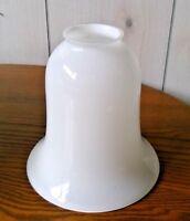 "White Opal Milk Glass Bell Shape Cased Glass 2 1/4"" X 6"" Lamp Shade"