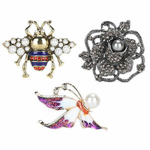 3x Flower Insect Brooch Women Buckle Clip Brooch Pin  Fashion Gift Jewelry Decor