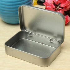 Fad Hinged Lid Tin Silver Empty Storage Box Metal Case For Money Coin Candy Key
