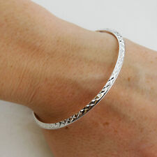 Round Diamond-Cut Sterling Silver Bangle Bracelet - 925 Hollow Lightweight Gifts