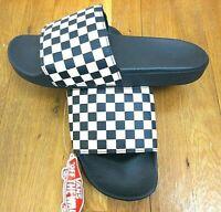 Vans Mens Checkerboard Logo Dress Blues White Slides Flip Flops NWT Free Ship