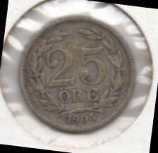 SWEDEN - 25 ORE, 1904 - SILVER (.600, .0467 OZ. ASW)