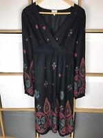 EAST Black Printed Peacock Long Sleeve Midi Dress Size 14 VGC Boho