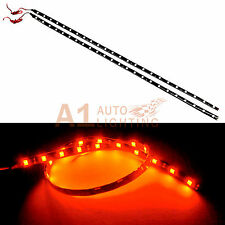 """2x NEW 60cm/24"""" Red LED Strip Footwell Under Dash Light Waterproof Exterior"""
