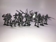 Marx Recast 54mm Confederate Infantry Silver Plastic Soldiers Blue And Gray