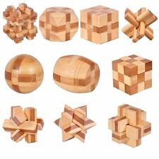 10pcs/set 3D handmade vintage Ming lock Luban lock wooden toys Children puzzle