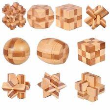 10pcs/set 3D handmade vintage Ming lock Luban lock wooden toys Children puzzle