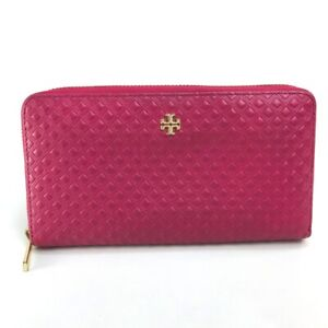 Tory Burch logo Diamond pattern Long Wallet (Coin Compartment) Leather pink