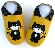 soft sole shoes cat black yellow 4-5y US 12-13 minishoezoo  chaussons bebe
