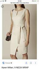 Karen Millen Ivory Cream Pencil Dress V Neck Wrap With Belt UK 8