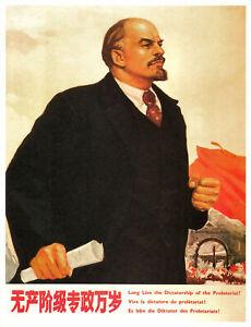 Vintage Soviet  Propaganda Poster Russian Communist Lenin Art Poster Print A4