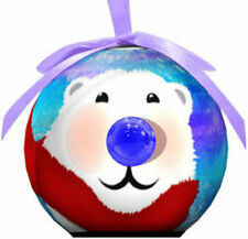 Christmas Ornament Holiday Blinking Ball Shatterproof XMas Polar Bear Hangs NEW