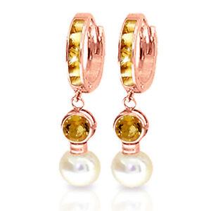 6.15 Carat 14K Solid Rose Gold Huggie Earrings pearl Citrine