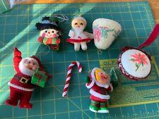 lot 7 Vintage Christmas Ornaments plastic felted Santa girl tree handmade flock