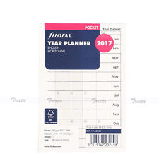 Filofax Pocket Size 2017 Horizontal Year Planner Calendar Diary Refill Insert