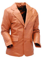 Light Brown Two Button Lambskin Leather Blazer #M1120BTN - Size S