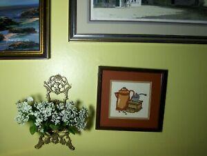 Happy Morning Coffee Grinder Pot Framed Art Needlepoint Crewel HAND MADE VINTAGE