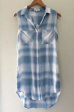 NEW! Cloth & Stone Soft Plaid Knit Blue White Button Down Shirt Dress S $160