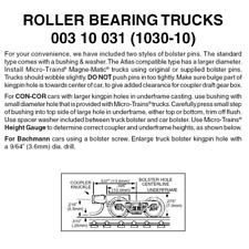 Micro-Trains 00310031 - Roller Bearing Trucks With Short Extension Couplers (...