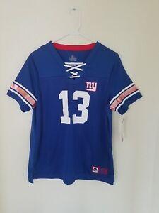 Women's Majestic NFL New York Giants  # 13 Odell Beckham V-Neck Jersey Shirt NWT