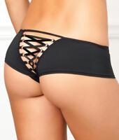 Rene Rofe Crotchless Lace-Up Back Boyshort Panty - Women's