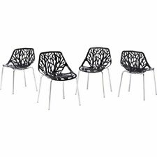 "Best Master Furniture Kausalya 21"" Stackable Dining Chair in Black (Set of 4)"