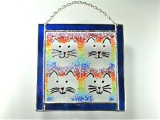 4 CATS Window, Wall Hanging, Kiln Fused Stained Glass 6x6 inches  Sun Catcher #2