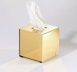 Kosmetiktuchbox Tissue-Box Würfelbox goldfarben hochglänzend Papiertücherbox