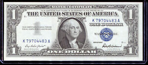 1957 $1 Silver Certificate K79704483A About Uncirculated