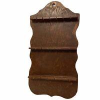 Vintage Wood 18 Slot Spoon Display Rack Holder 19 x 10 Stained Crude