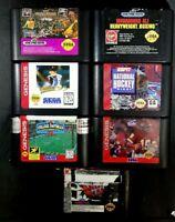 Loose Vintage Sega Genesis Game Cartridge Lot Of 7 All Sports Football Baseball