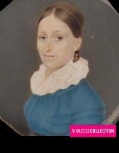 ANTIQUE 1830s FRENCH SCHOOL MINIATURE PAINTED WATERCOLOR GOUACHE WOMAN PORTRAIT