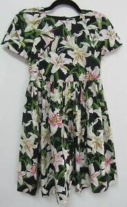 Dolce&Gabbana kids girls cotton lily floral print short sleeved dress sz 9/10