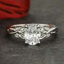 1.6 Carats Oval Cut Moissanite Engagement Ring in 9k Solid White Gold
