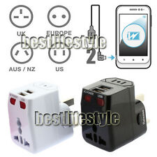 Universal World Travel Adaptor Electric Adapter 2 USB Charger AC Power Black