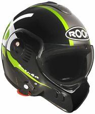 Roof Boxer V8 Suzuka Brillo Negro Verde Flip Motocicleta Casco Medio 58 Nuevo