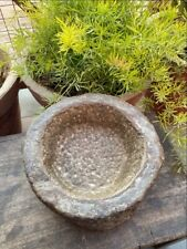 1700's Antique Old Hand Caved Indian Stone Mortar Bowl Garden Decorative Bowl