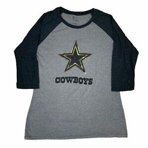 Dallas Cowboys Shirt Womens Large Gray Black Camo Fanatics NFL Football Adult