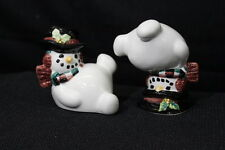 """Mint Pair of Fitz & Floyd Essentials 3"""" Handcrafted Snowman Tumblers Figurines"""