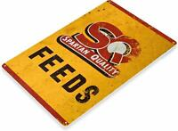 Spartan Quality Feeds Retro Rustic Feed Seed Store Farm Barn Tin Metal Sign