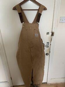 Carhartt Duck Brown/Biege Bib Workwear Dungarees Carpenter Double Knee Overalls